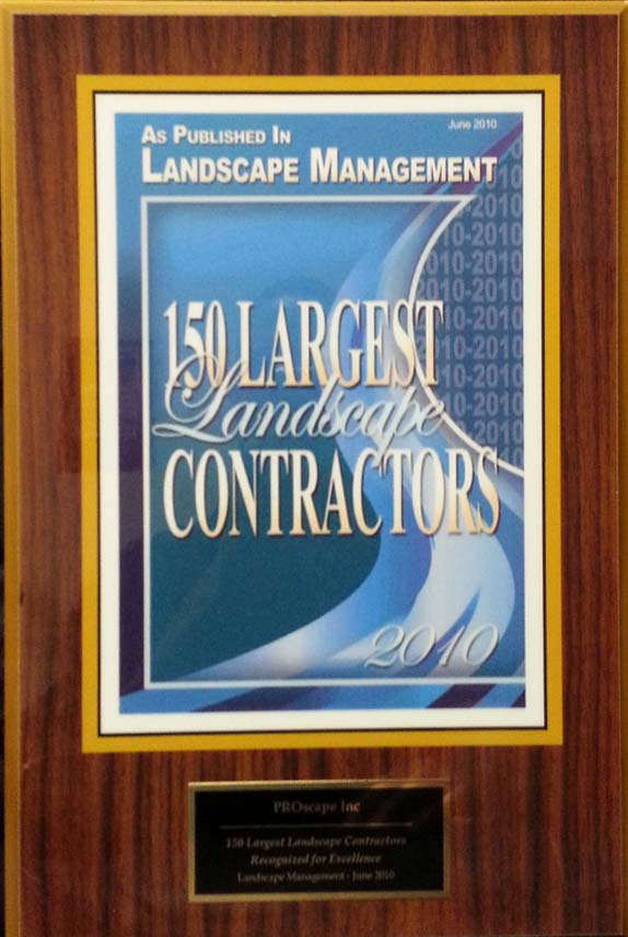 Top 150 Largest Landscape Contractors 2010 Award