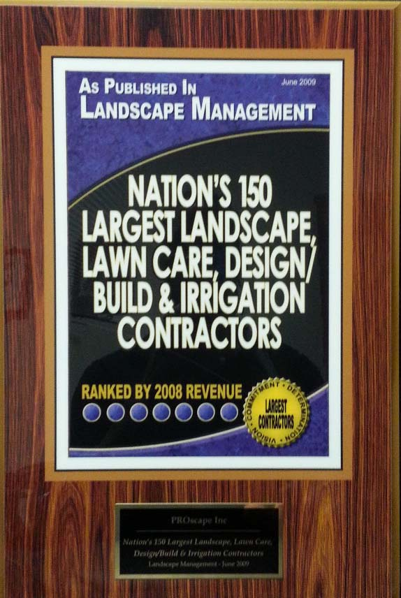 Nation's top 150 Largest Landscape,Design/Build and irrigation Contractors Award