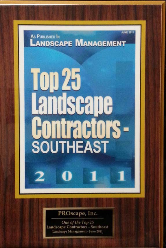 Top 25 Landscape Contractors Southeast 2011 Award