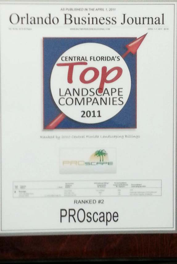 Central Florida's Top Landscape Companies 2011 Award