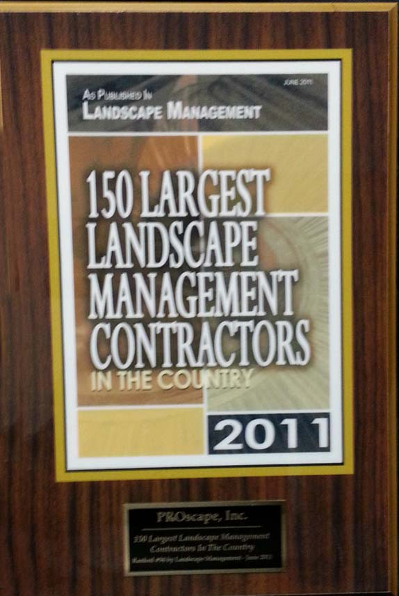 Top 150 Largest Landscape Management Contractors in the Country 2011 Award